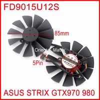 Free Shipping 2pcs/Lot FD9015U12S 85mm 28x28x28x28mm 12V 0.55A 5Pins For Asus Strix GTX970 GTX980 Graphics Card Fan