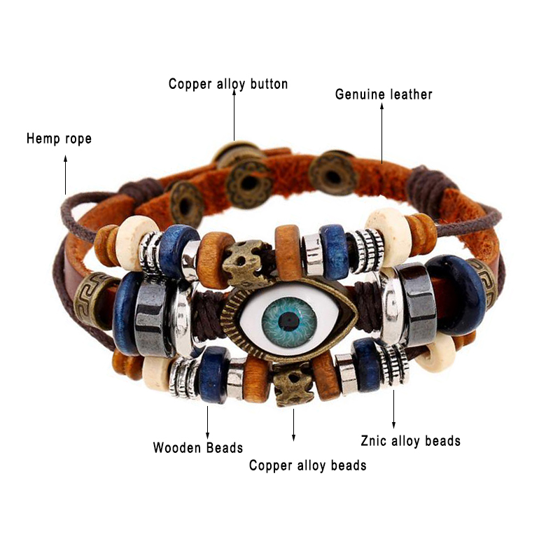2 Style Vintage Evil Eye Bracelet Multi Layer Genuine Cowhide Leather Charm Bracelet Cuff Wristband Bead Turkish Jewelry Braclet