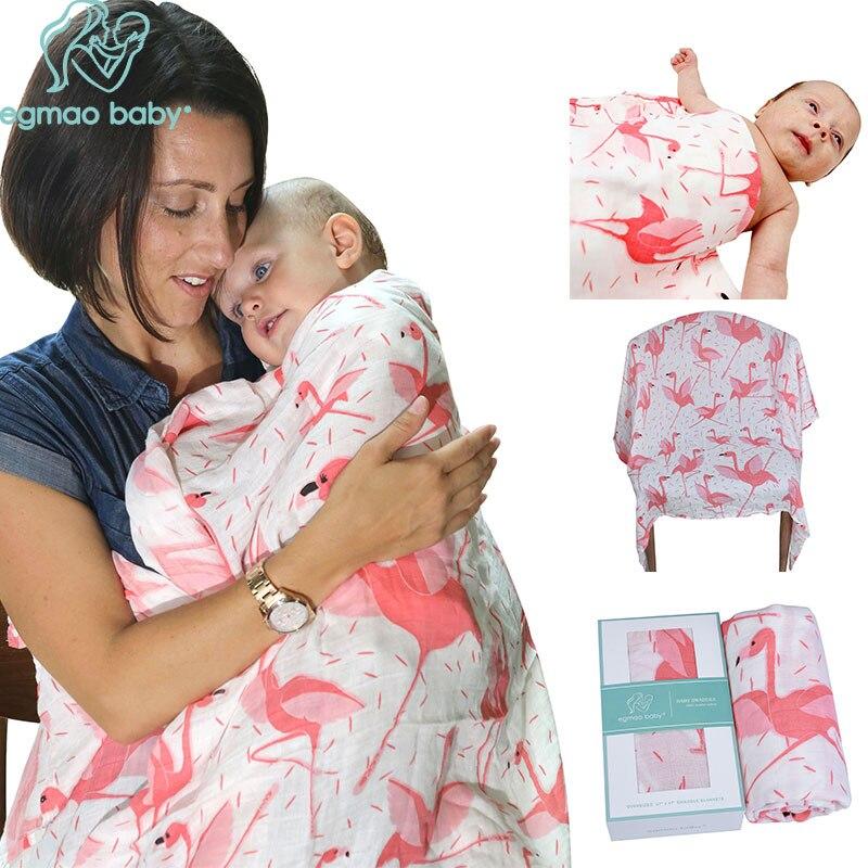 Egnao ?етские 'ламинго органических ћуслин 'лопок, Ѕамбук детское одеяло ѕодгузники онверт на выписку новорожденных НбЄрточная бумага ѕостельные принадлежности ѕостельное белье