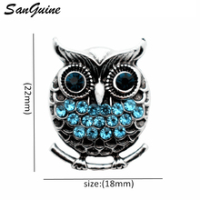 Newest 6pcs/lot New Snap Jewelry Rhinestone owl Buttons for Women Ginger fit 18mm Bracelet Bangles