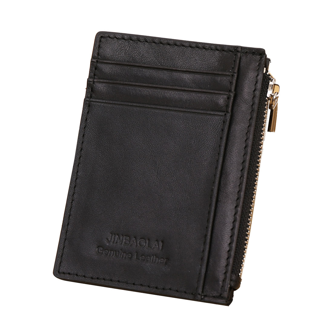 Retro Mens Leather Wallet Credit ID Card Holder Slim Zipper Cash Coin Purse leather slim credit card holder id card case holder useful purse with neck strap