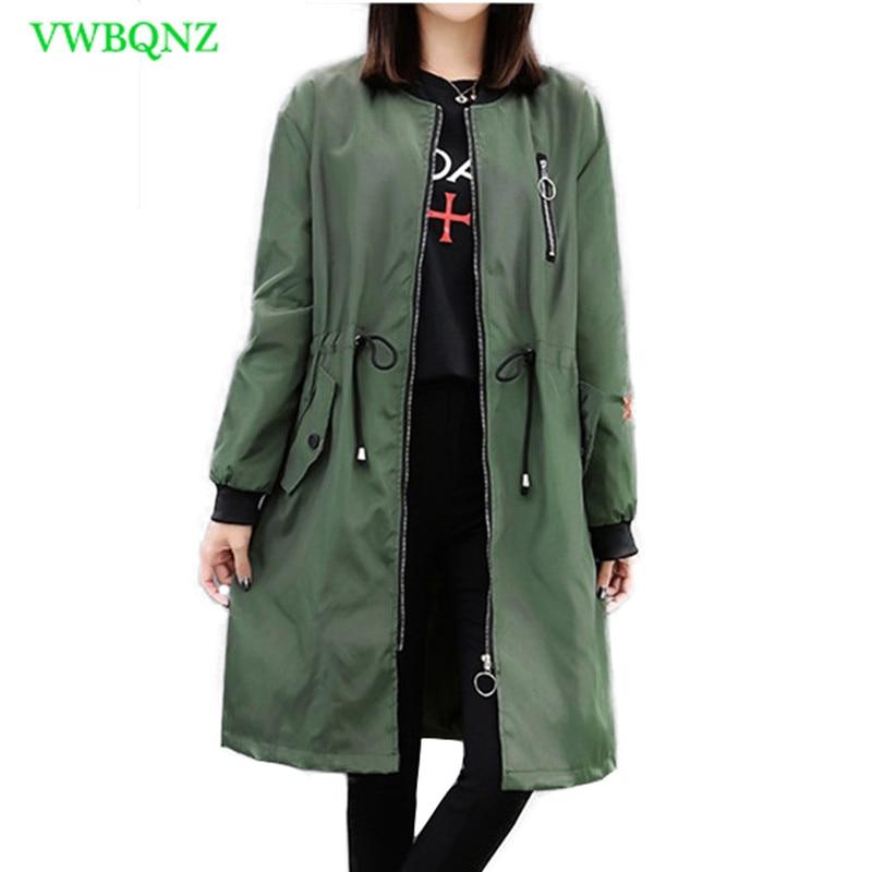 Spring Autumn New Windbreaker Coat Women Fashion Loose Long