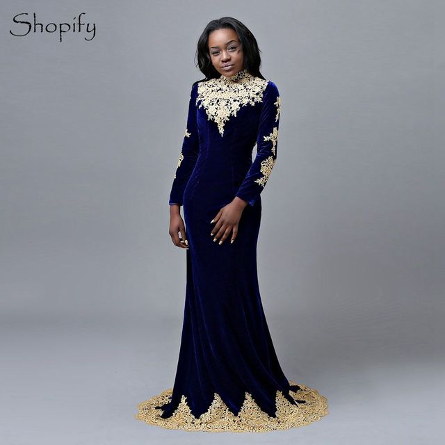 899fa0f252 US $145.36 8% OFF Long Sleeves Prom Dresses 2019 High Neck Gold Lace  Backless African Royal Blue Mermaid Velvet Prom Dress -in Prom Dresses from  ...
