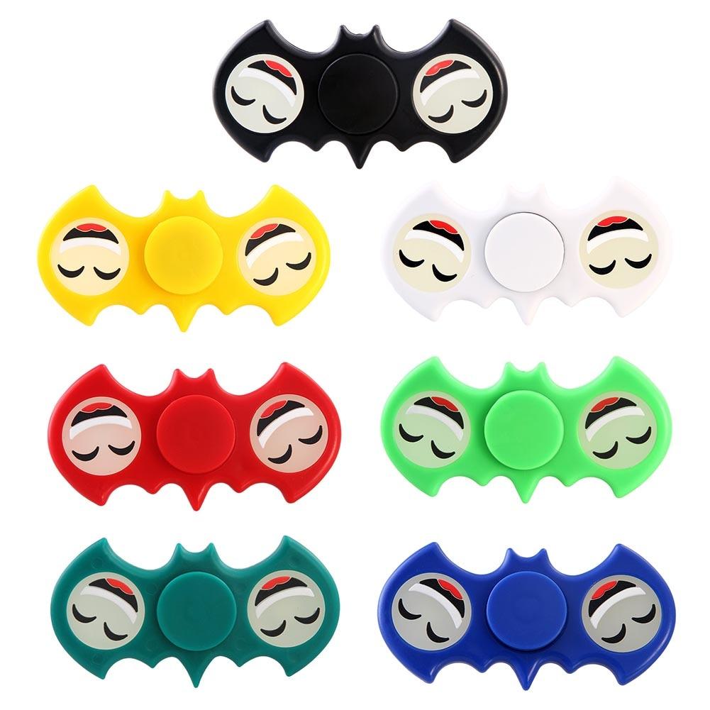 Luminous Smile Face Hands Spinner Stress Bat Spinner Fidget Plastic EDC Tri Spinner Fidget Toy Adults