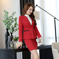 Novelty Red 2016 Professional Autumn Winter Slim Fashion Business Women Work Suits With Jackets And Skirt Female Blazers Set