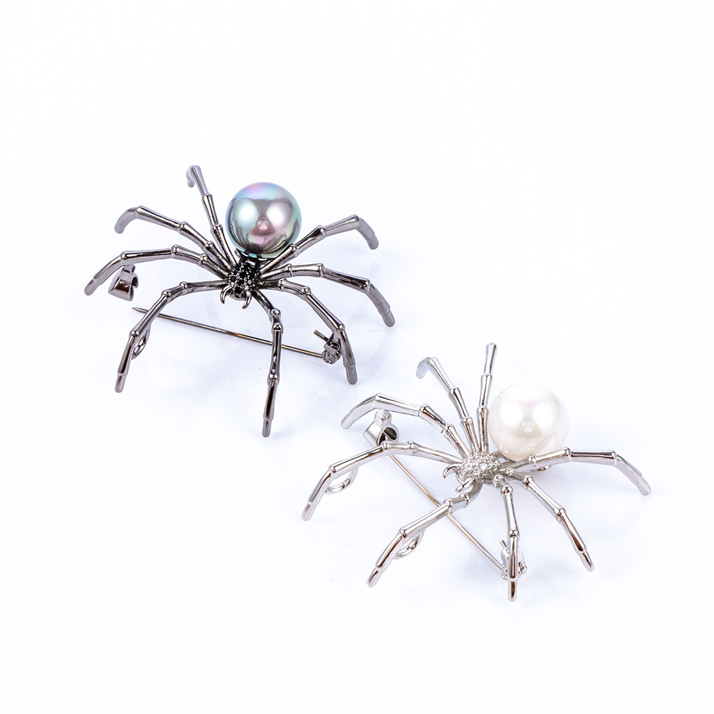New Design Insect Spider Artificial Pearl Brooch Pins For Women Mens Coat Dress Scarf Female Wedding Vintage Broochs Jewelry