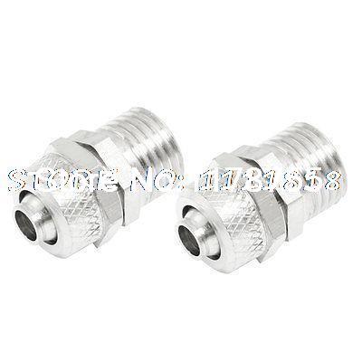 "1/4"" PT Thread 6mm x 8mm Pneumatic Air Tube Quick Coupler Fittings 2 Pcs"
