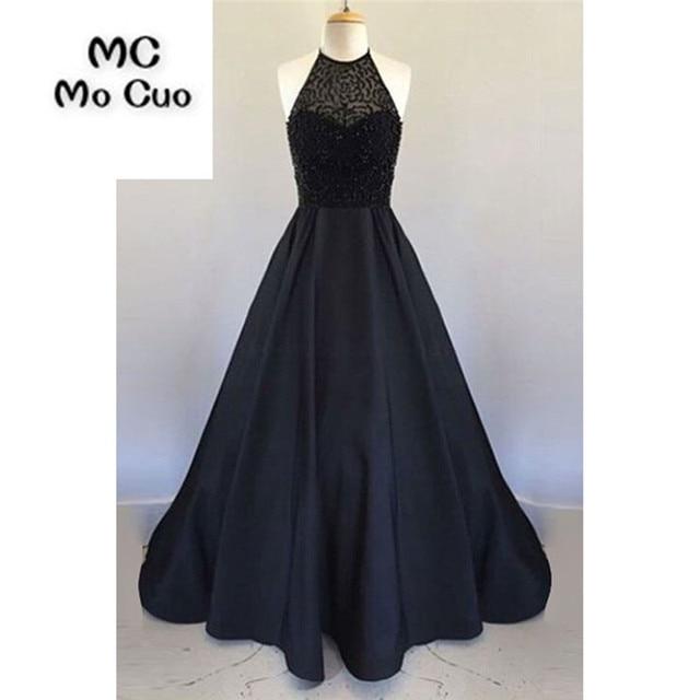 Elegant Dark Blue Prom dresses Long with Beaded Illusion Off Shoulder dress  for graduation Halter Formal Evening Prom Dress eb92c566b57b