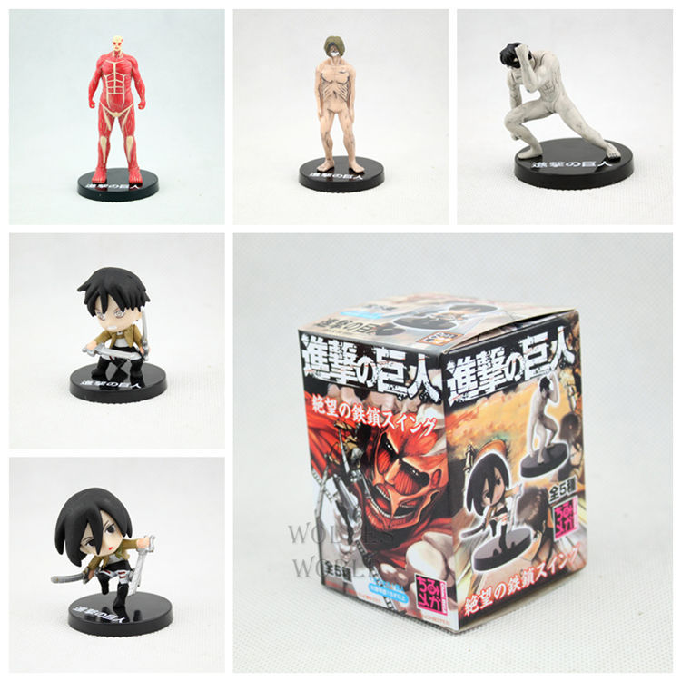 Free Shipping Attack on Titan PVC Action Figure Toys 5pcs/lot KA0191