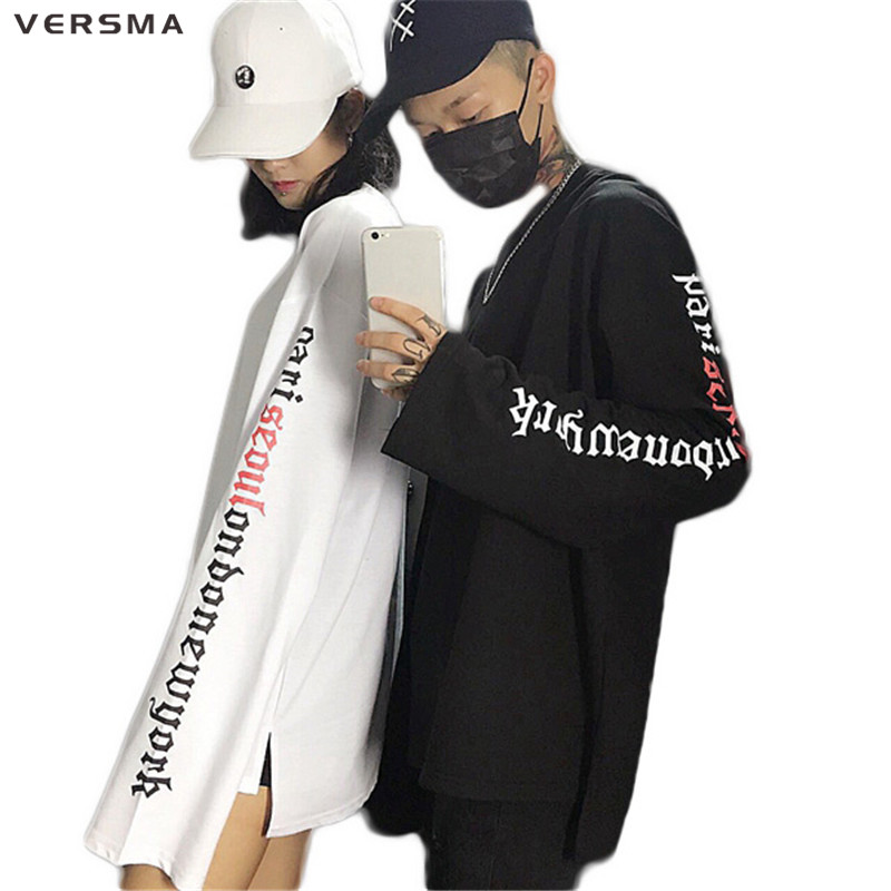 VERSMA 2017 Automne Coréenne Ulzzang Bras Lettres Imprimé T-shirts Hommes Femmes Harajuku BF Hip Hop Lâche Extra Long Manches T Shirt Hommes
