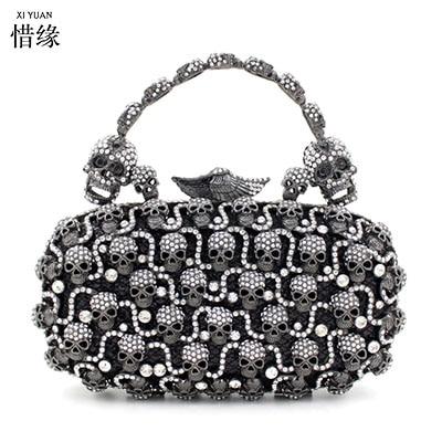 XIYUAN BRAND font b women b font 2017 luxury full diamond Skull evening dinner shoulder bag