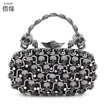 XIYUAN BRAND women 2017 luxury full diamond Skull evening dinner shoulder bag female clutch wallets famous