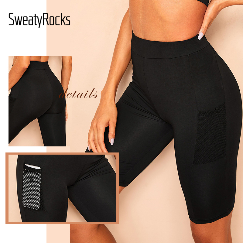 Image 5 - SweatyRocks Mesh Pocket Patched Solid Skinny Cycling Shorts Active Wear Women Biker Shorts 2019 Summer Casual Black Shorts-in Shorts from Women's Clothing