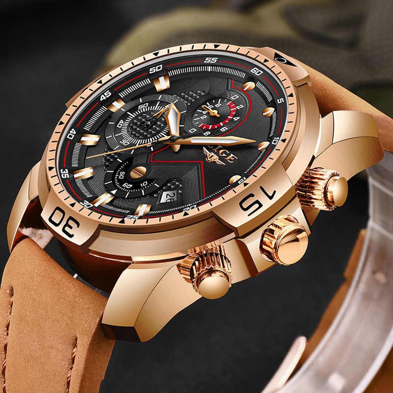 LIGE nuevos relojes para hombre, reloj de cuarzo de cuero de lujo, reloj de oro de regalo a prueba de agua para hombre, reloj de pulsera para hombre