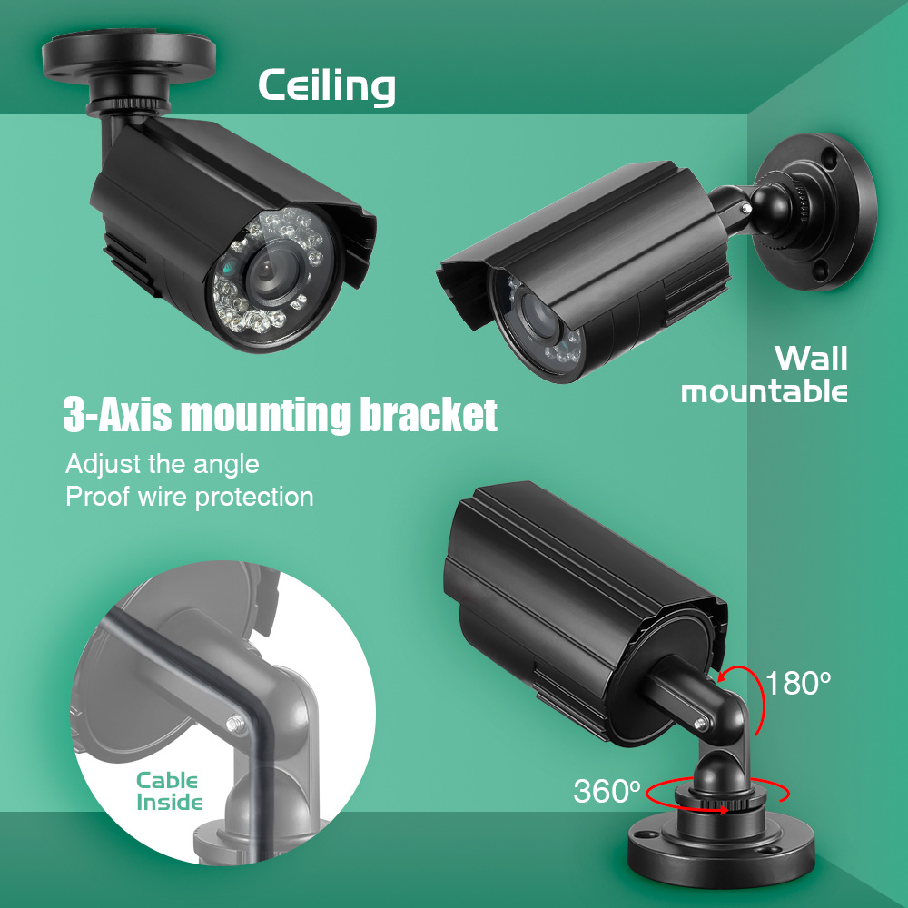 Metal Case 1200TVL HD Mini CCTV Camera Outdoor Waterproof IP66 24 LED Light IR-CUT infrared Security Surveillance Analog Camera