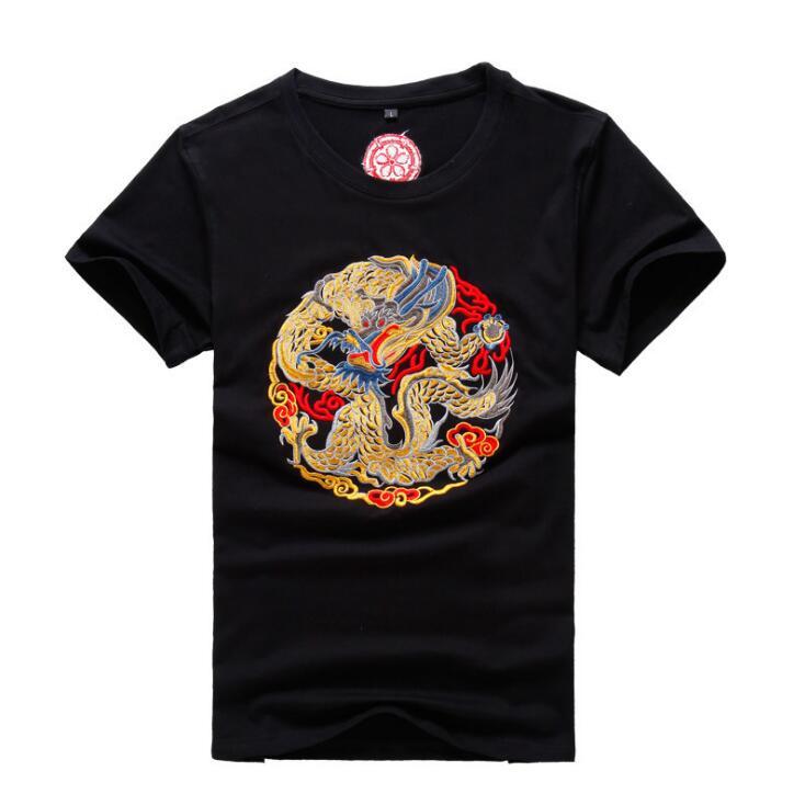 2018 nouveau Design coton broderie Dragon t-shirt hommes mode été hommes haute qualité vêtements M-4XL