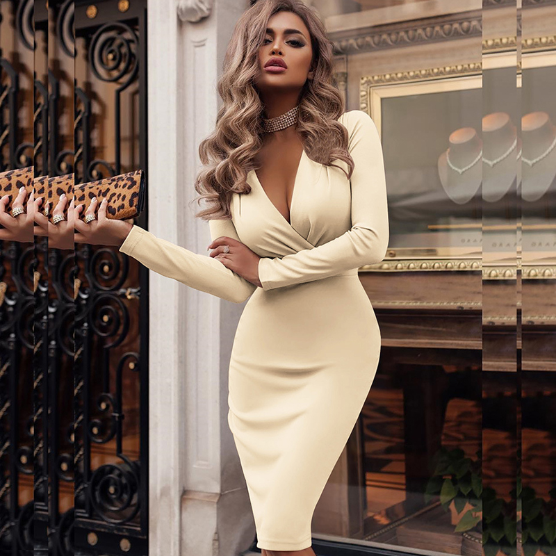 2019 New Spring Long Sleeve Solid Bodycon Party Dress Sexy Women Deep V-neck Wrap Dress Elegant Knee-Length Pencil Dresses S-XXL