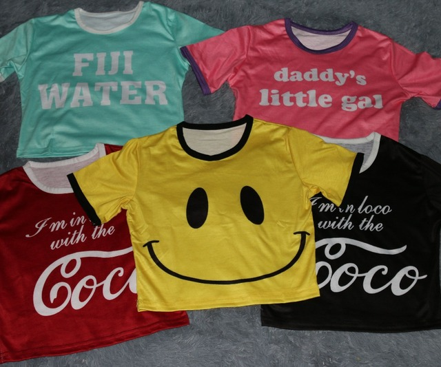 Emoji Tee up-navel bust(76-98cm) Smile face fuji water Coco daddy little gal print O neck summer style Crop top women Tshirt