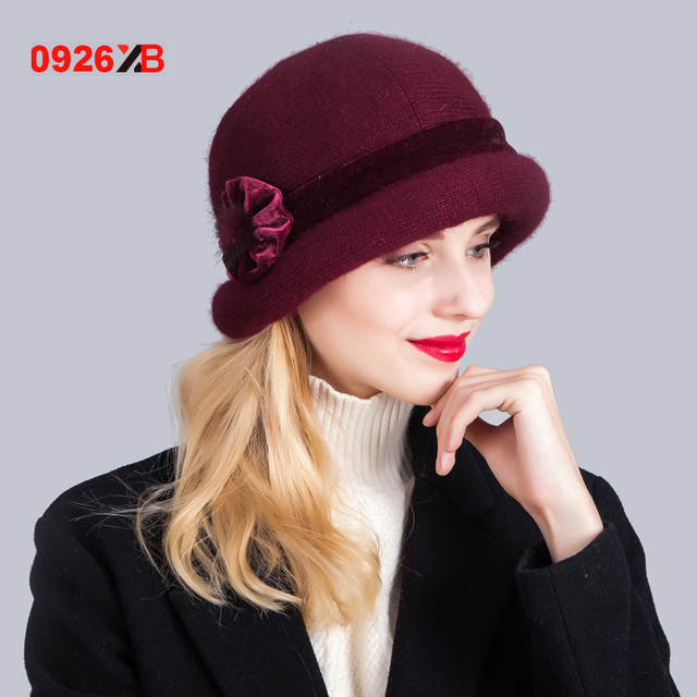 0926XB 2017 NEW Winter Wool Hat Women Bowknot Wool Cap Elegant Knitted  Bucket Hat Winter Hats XB-D629 b2487eb7183