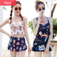 Two Pieces Swimwear Women Vintage Junior Girls Swimsuit With Skirt Graffiti Bikini Bathing Suit Hot Spring