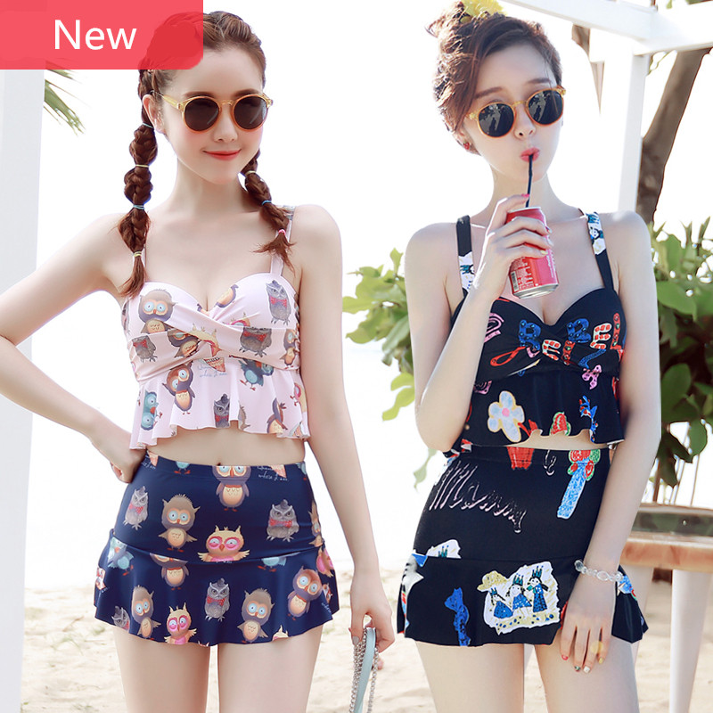 Two Pieces Swimwear Women Vintage Junior Girls Swimsuit With Skirt Graffiti Bikini Bathing Suit Hot Spring Backless Bodysuit