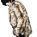 Tigre color de piel de los hombres abrigo de piel falsa chaleco para hombre de cuero chaqueta de abrigo de los hombres tendencias de Vellosidades otoño invierno ropa de abrigo térmica de piel chaqueta