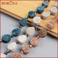 BOROSA Handmade 16inch Teardrop Rainbow Natural Crystal Titanium Geode Druzy Loose Bead Stone Druzy Drusy Fashion Jewelry LS009