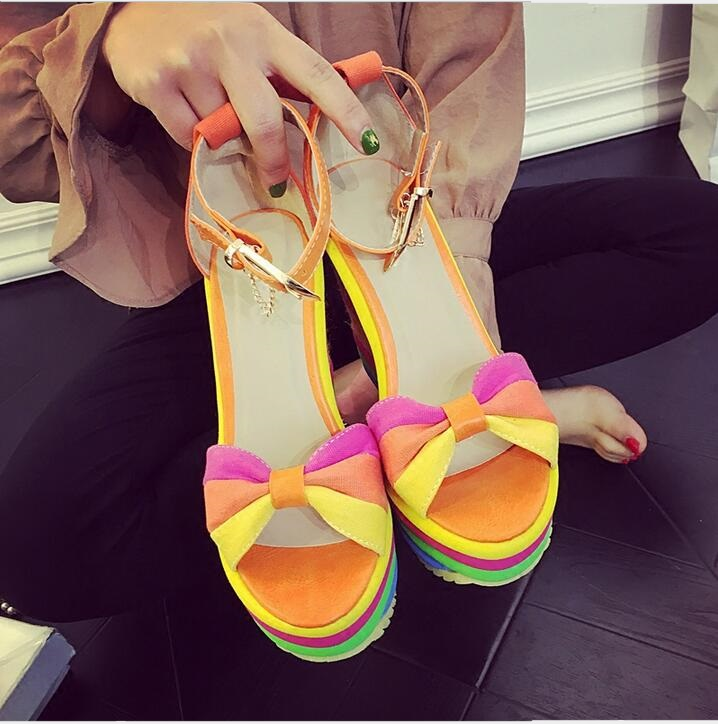 цена на Woman rainbow shoes fashion wedge heel high platform ladies shoes orange blue bowtie bukcle sandals big sale free shipping