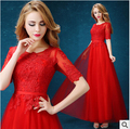 2017 Half Sleeve Long Red Evening Dress Slit Neckline Floor Length Soluble Lace Sexy Rackback A Line Cap Sleeve Crepe