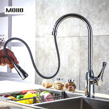 MOIIO Modern Pull-Out Kitchen Faucet Solid Brass Chrome Single hand Pause Button Pull Out Sprayer torneira