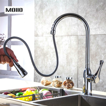 MOIIO Modern Pull-Out Kitchen Faucet Solid Brass Chrome Single hand Pause Button Pull Out Sprayer Kitchen Faucet torneira цена 2017