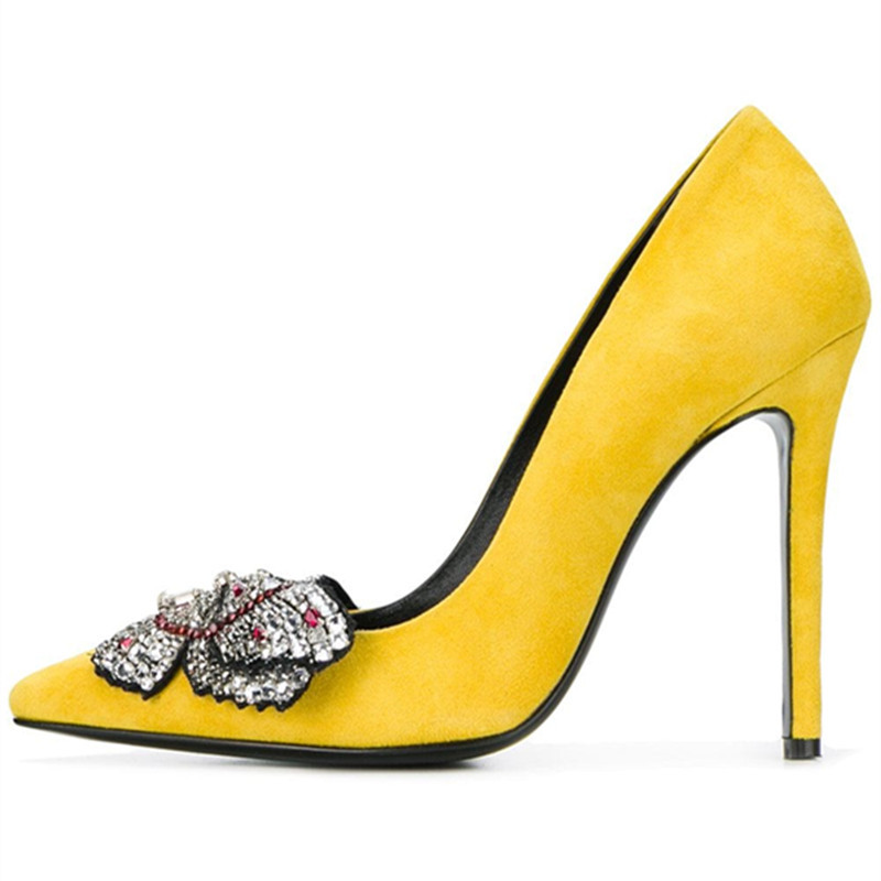 2018 New pointed toe crystal high heels shoes woman yellow suede bowtie stiletto pumps ladies fashion party wedding dress shoes high quality suede wedding party dress shoes women pointed toe stiletto brand pumps bow fringe embellished high brands
