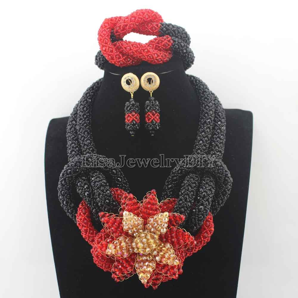 2019 New BlackRed Plated Bridal Jewelry Set Flower Chunky Nigerian Wedding African Beads Indian Costume Free Shipping HD8053