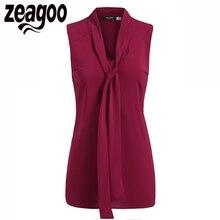 Zeagoo Women Blouse Tie-Bow Neck Chiffon Sleeveless Casual Slim Fit Blouses Top Elegant Lady Shirts Summer Tops Blusas Black XL