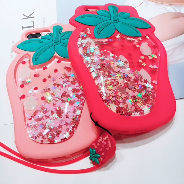 Kawaii Strawberry Glitter Phone Case For Iphone Limited
