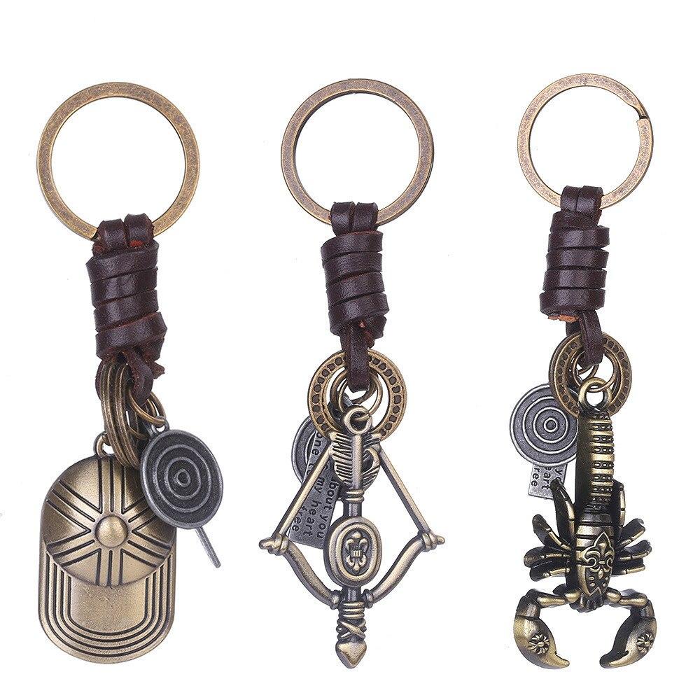 Punk Ornaments Keychain Scorpion Baseball Cap Bow Arrow Retro Leather Keyring Key Holder Jewelry Gifts M41