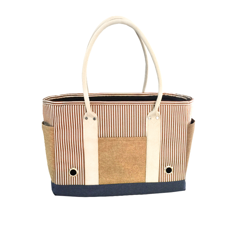 New Arrival Striped Handbag Design Pet  Dog Cat Carrier Bag Free Shipping By CPAM Bag For Dog Or Cat