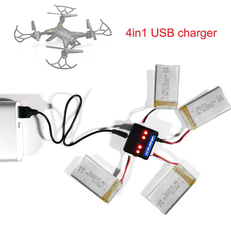 KY601S Battery Charger 4 In1 USB Battery Charging Cable Set For KY601S KY101S RC Quadcopter Drone Accessories