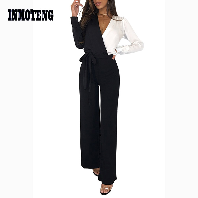 Black White Colorblock Asymmetric Wide Leg   Jumpsuit   Women Wrap V Neck Long Sleeve Office Elegant Rompers Plus Size XL Outfits