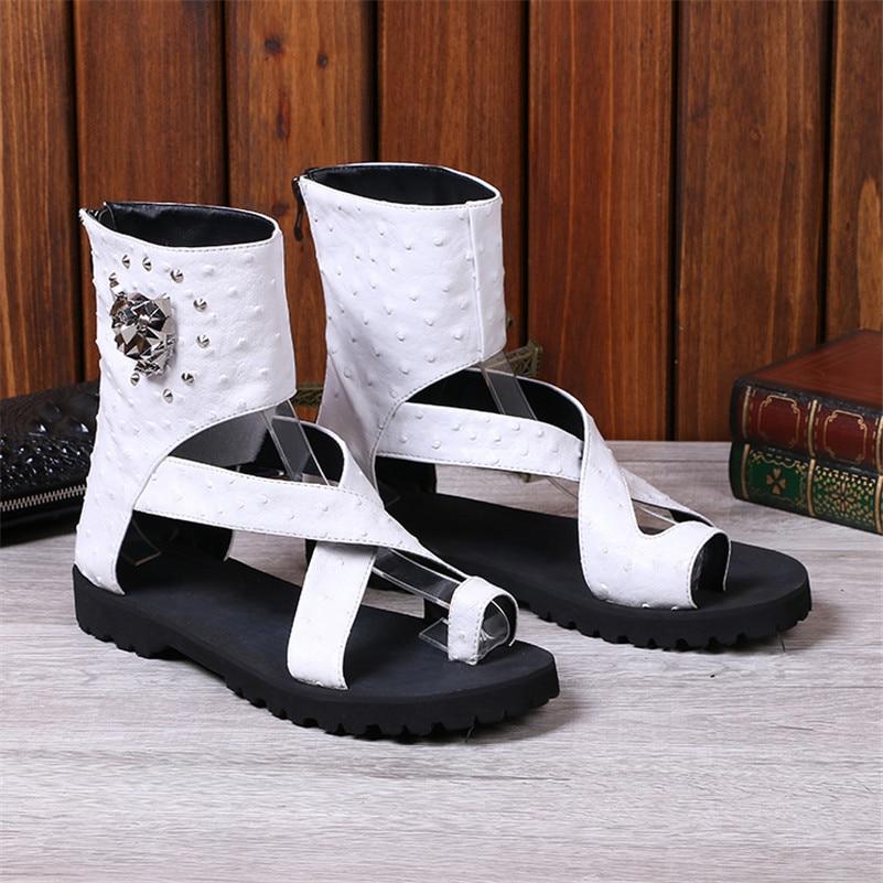 Men Shoes Sandale-Slipper Decor-Sandalias Chaussure Flats Beach Rivets Ankle-Wrap Homme