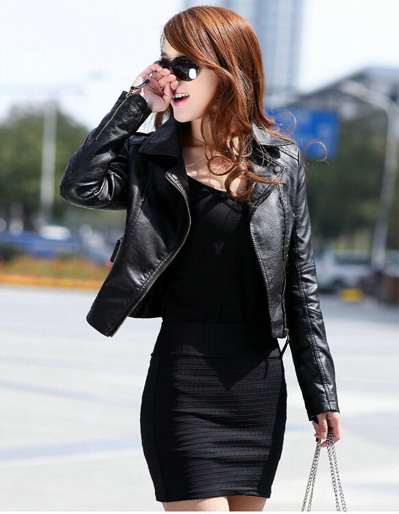 Jaqueta De Couro Feminina 2015 Autumn Winter Ladies Motorcycle Jackets Coat Elastic Pu -1346