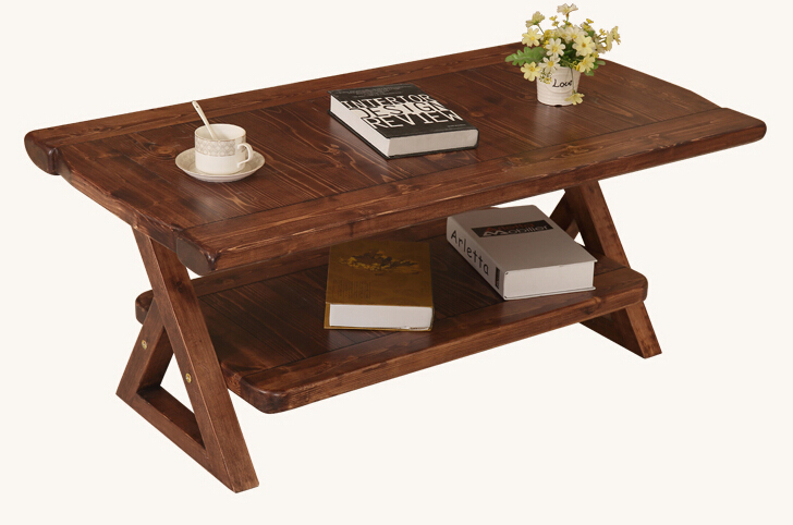 Vintage Pine Wood Table Foldable Legs With Movable Shelf Rectangle 110cm Living Room Furniture Asian Antique Low Coffee Table