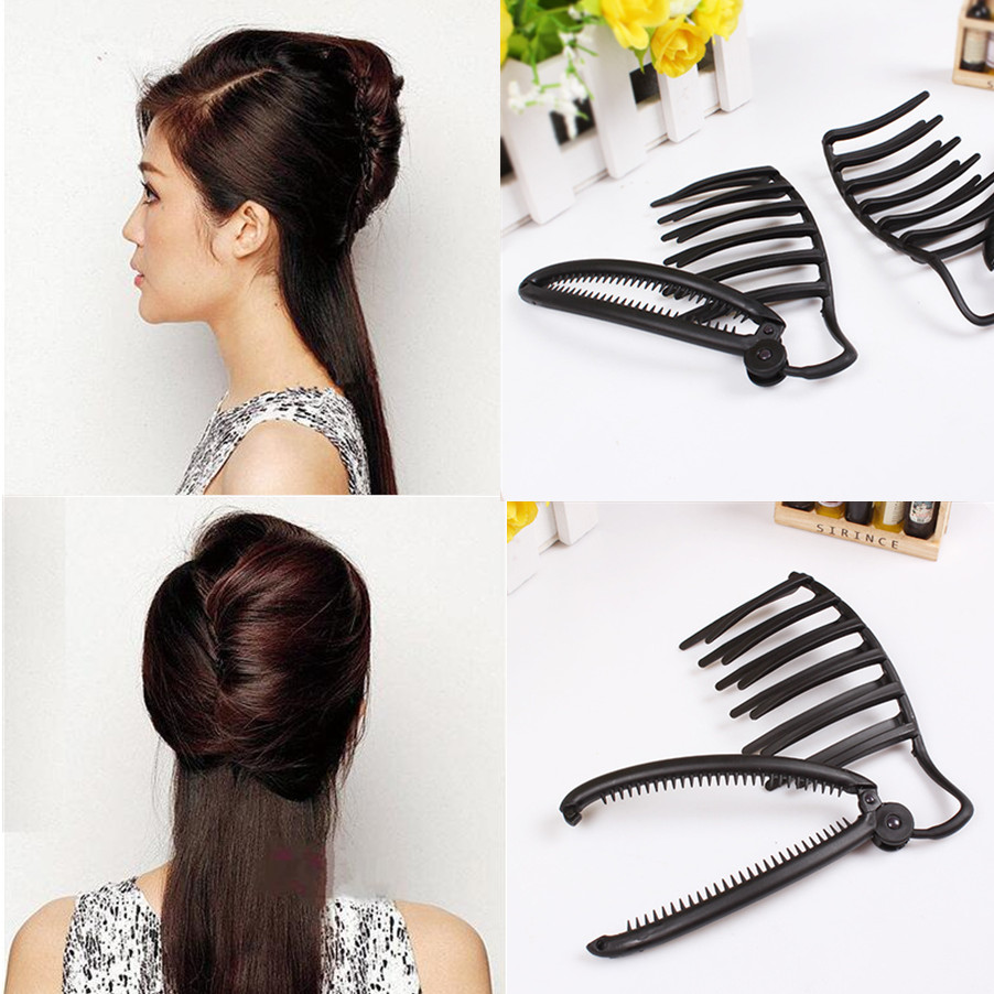 Women DIY Formal Magic Hair Styling Updo Fast Bun Comb And Clip Tool Set Accessories For ...