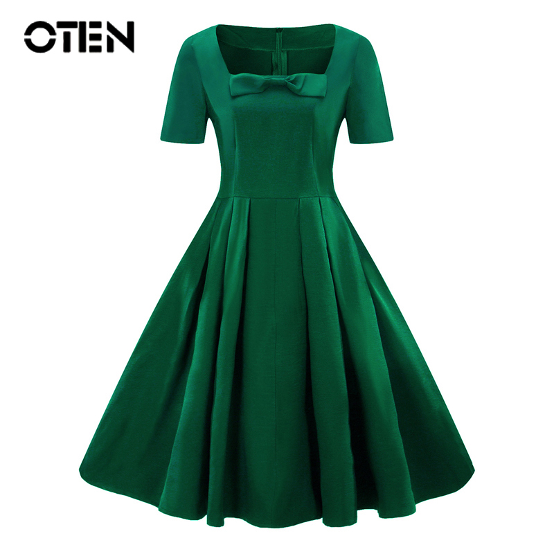 OTEN 2018 Summer Audrey Hepburn Style Short Sleeve A Line Knee Length midi  party outfits Bow 5c9329a2791c