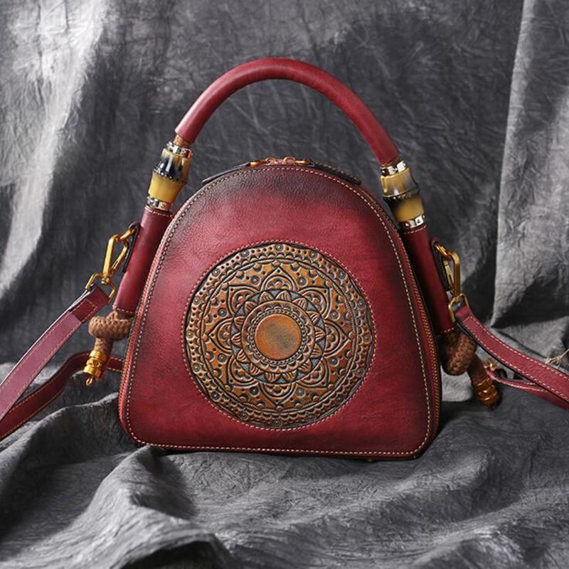Norbinus 100% Genuine Leather Shoulder Bag Luxury Vintage Cowhide Women Handbag Manual Crossbody Messenger Bags Top Handle Hobos-in Top-Handle Bags from Luggage & Bags    3