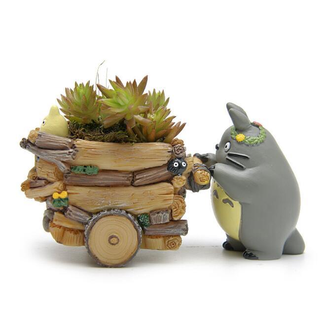 Studio Ghibli Meu Vizinho Totoro bonito resina Carro Push Action Figure Model Collection Toy Presente Das Crianças Decoração