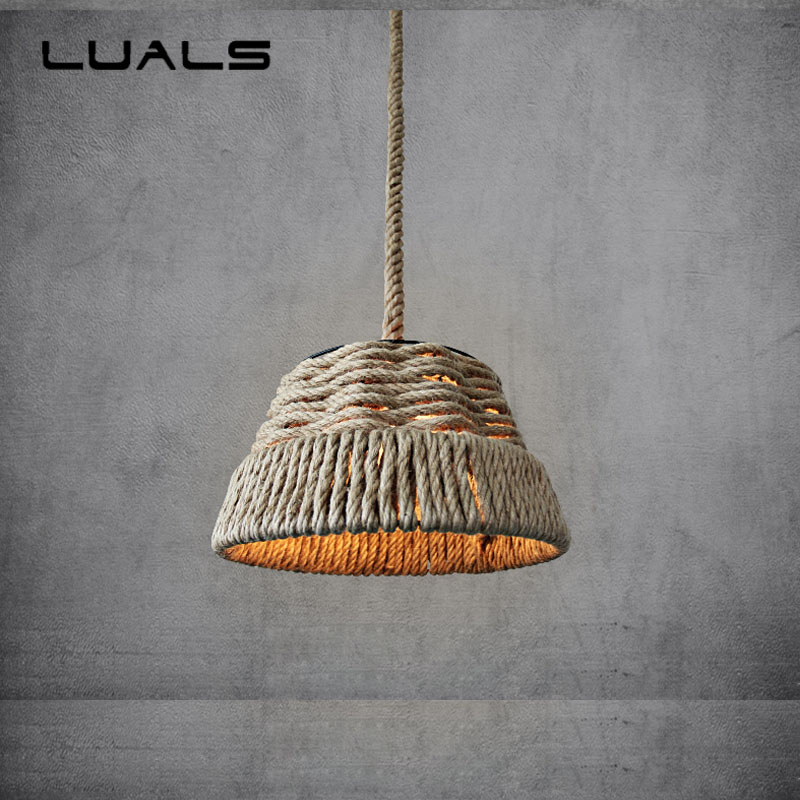 Countryside Style Pendant Lamp Personality Rope Pendant Lights For Restaurant Bar Suspension Luminaire Edison Light Fixtures