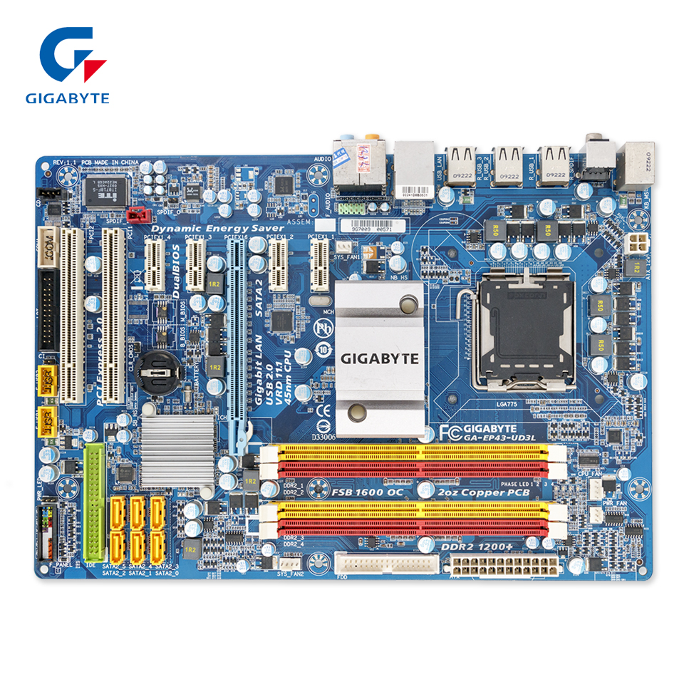 Gigabyte GA-EP43-UD3L Original Used Desktop Motherboard EP43-UD3L P43 Socket LGA 775 DDR2 ATX On Sale gigabyte ga ep45 ud3l original used desktop motherboard ep45 ud3l p45 lga 775 ddr2 16g sata2 usb2 0 atx
