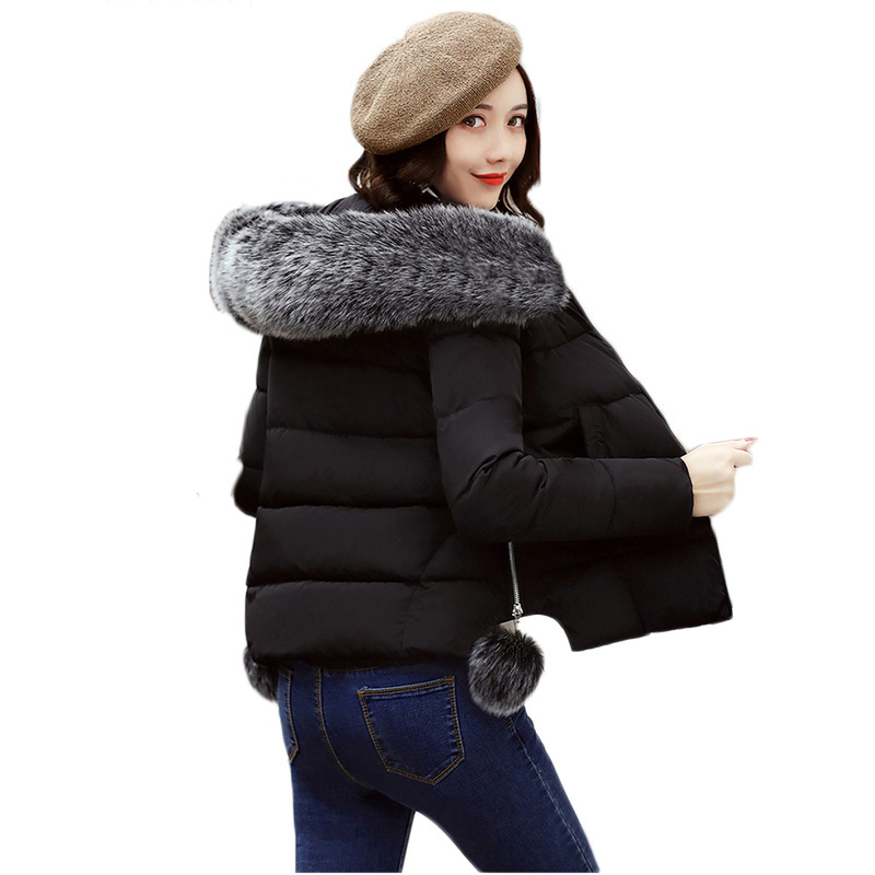 2017 Winter Cotton Faux Fur Collar Hooded Padded Jacket Women Thick Female Coat Parka Winter Short Jacket Ladies Overcoat RE0039 women winter coat leisure big yards hooded fur collar jacket thick warm cotton parkas new style female students overcoat ok238