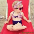 2017 Cute Striped Sailor Child Bikini swimsuit swimwear high waisted bathing suit for kids baby girls Biquini children swimwear